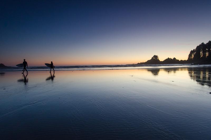 Tofino Surfers Silhouettes