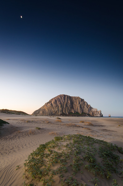 Morro Rock Moon Setting