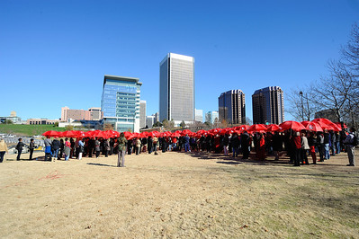 World AIDS day, 400 red umbrella's make a ribbon on Browns Island, Richmond Virginia.