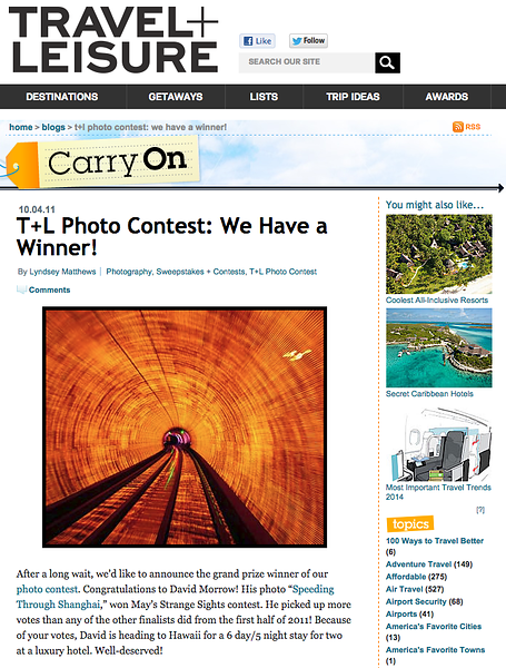 Travel & Leisur Magazine Front Cover - Winner of the T+L Photography Contest
