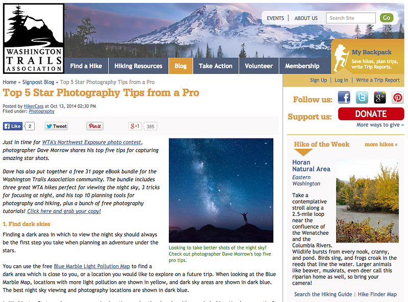 Washington Trails Association Feature - 5 Star Photography Tricks from a Pro