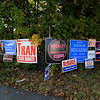 There are political sign for just about everyone and everything on this fence at the corner of Johnson Street and Viscoloid Street in Leominster. SENTINEL & ENTERPRISE/JOHN LOVE