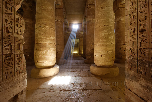 """01-calendar-egypt-abydos  Magical light in the inner hypostyle hall of the Seti Temple of Abydos. Abydos was the """"Mecca"""" of the Ancient Egyptions. Photo Paul Smit."""