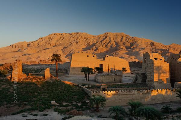 20-calendar-egypt-medinethabu  The mortuary temple of Ramses III at Medinet Habu on the west bank in Luxor. Photo Mick Palarczyk.