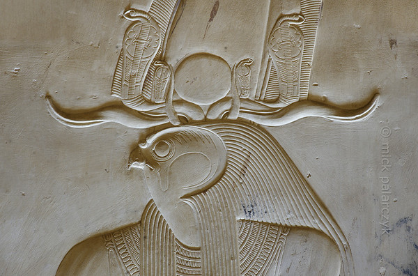03-calendar-egypt-abydos  Relief of Horus wearing the atef crown in the Horus chapel at the Seti Temple of Abydos. Photo Mick Palarczyk.