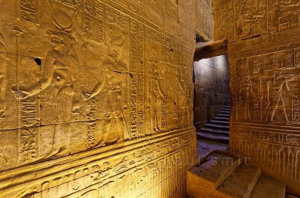 24-calendar-egypt-edfu  Staircase, descending from the roof, in the Horus Temple at Edfu. Photo Paul Smit.