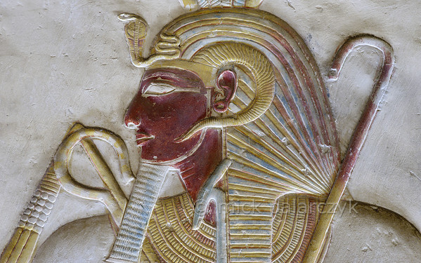 "[Egypt 29936] 'Seti with ""nemes"" crown at Abydos'."
