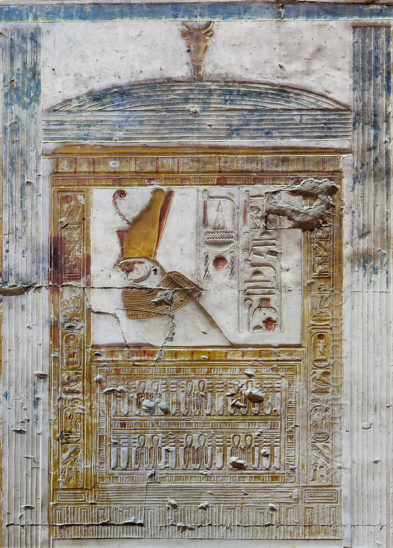 [Egypt 29942] 'Horus falcon in Inner Osiris Hall at Abydos'.