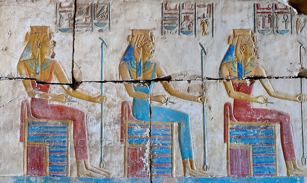 [Egypt 29990] 'Three goddesses in Ramses II Temple at Abydos.'
