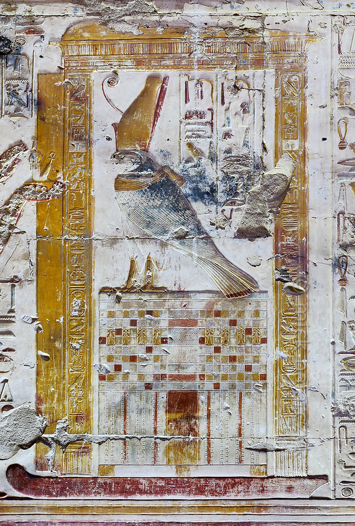 [Egypt 29940] 'Horus falcon in Inner Osiris Hall at Abydos'.