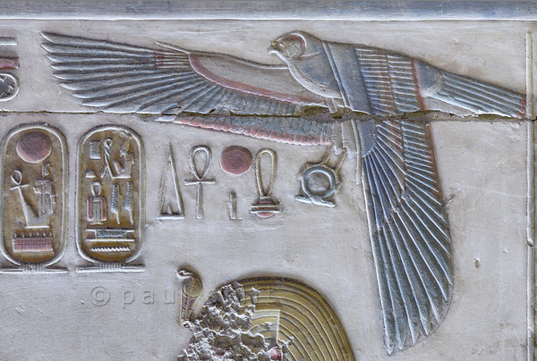 [Egypt 29949] 'Horus falcon in Inner Osiris Hall at Abydos'.