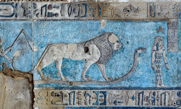 [EGYPT 29590] 'Leo on astronomical ceiling at Dendera.'  A lion standing on a snake portrays the zodiac  sign Leo on the astronomical ceiling in the outer hypostyle hall of the Hathor Temple at Dendera. The ceiling consists of seven separate strips but here we are looking at a detail of the upper register of the WESTERNMOST STRIP. Leo is one of the six zodiac signs depicted in the entire westernmost strip (see picture 29585 till 29590) and the other six can be found on the easternmost ceiling strip of the hall (see picture 29526). These signs are of Babylonic-Greek origin and are not found in Egypt before it was conquered by Alexander the Great in 332 BC. The standing woman with a star above her head is the goddess of the 12th hour of the night. This part of the Dendera Temple was built during the Roman period (first century AD). Photo Mick Palarczyk.