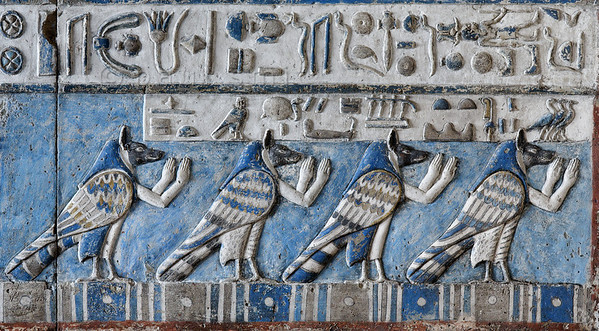 """[EGYPT 29559] 'Ba souls on the astronomical ceiling at Dendera.'  Four souls in the form of jackal-headed birds with human arms inhabit the astronomical ceiling in the outer hypostyle hall of the Hathor Temple at Dendera. The ceiling consists of seven separate strips but here we are looking at a detail of the lower register of the FIRST STRIP EAST from centre. This ceiling strip deals with the daily voyage of the sun god across the sky and for everyone of the twelve hours the sun is depicted in its bark (see pictures 29554 - 29556). The lower register of this strip is inhabited by figures who protect or help the sun during its voyage, such as the four bird-souls in this picture. The caption above their heads reads: """"The western souls greet the sun while it sets"""", which is appropriate because these birds are placed near the end of the register, alongside the 12th bark, which (in the middle register) carries the setting sun. For an overview of this ceiling strip see picture 29552. This part of the Dendera Temple was built during the Roman period (first century AD). Photo Paul Smit."""