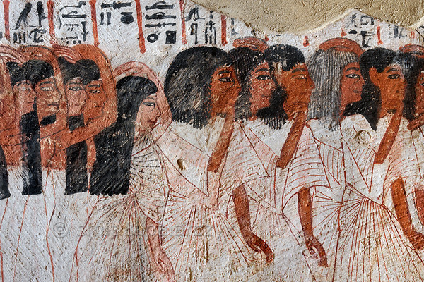 """[EGYPT 29377] 'Mourners in Roy's tomb at Luxor.'  A mural detail in the tomb of Roy shows relatives and friends in his funeral procession making gestures of mourning. One of the mourners, probably an older person, has a grey wig. Roy was an 18th dynasty royal scribe during the reign of Horemheb. His tomb (TT 255) can be found in the Necropolis of Dra Abu el-Naga on the Westbank at Luxor. It is one of the socalled """"Tombs of the Nobles"""". Photo Mick Palarczyk and Paul Smit."""