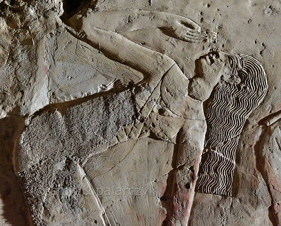 "[EGYPT 29398] 'Dancer in Kheruef's tomb at Luxor.'  	This relief detail in the tomb of Kheruef shows a female dancer who performs on the occasion of the First Jubilee (heb sed) festival of Amenhotep III (in year 30 of his reign). Kheruef was steward of Queen Tiy, the wife of Amenhotep III, and played an important role during festivals. His (unfinished) tomb (TT 192) can be found in the Asasif Necropolis on the Westbank at Luxor. It is one of the socalled ""Tombs of the Nobles"". Photo Mick Palarczyk and Paul Smit."