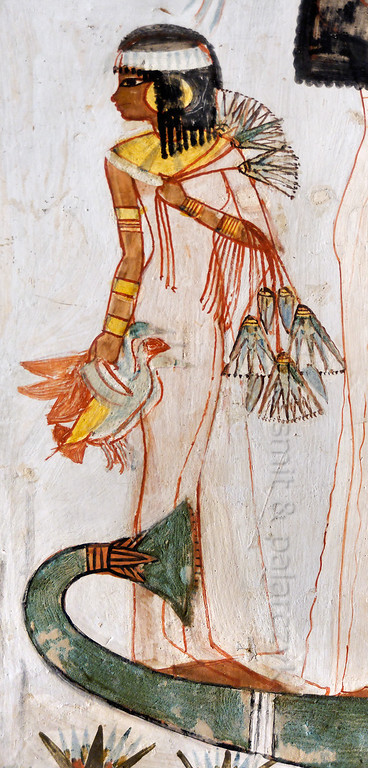 """[EGYPT 29322] 'Girl with lotus flowers in Menna's tomb at Luxor.'  A mural detail in the tomb of Menna shows a young girl carrying lotus flowers and the ducks that her father Menna has caught while hunting in a papyrus swamp. Menna was an 18th dynasty inspector of estates and overseer of harvests and his tomb (TT 69) can be found in the Sheikh Abd el Qurnah Necropolis on the Westbank at Luxor. It is one of the socalled """"Tombs of the Nobles"""" and dates to the end of the reign of Thutmosis IV and the beginning of the reign of Amenhotep III. Photo Mick Palarczyk and Paul Smit."""
