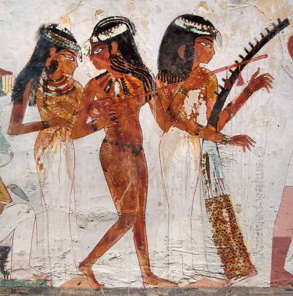 "[EGYPT 29340] 'Musicians in Nakht's tomb at Luxor.'  	A famous scene in the tomb of Nakht shows three girls playing a flute, a lute and a harp at the funeral banquet of the deceased. Nakht was an 18th dynasty scribe and 'Observer of the Hours of the Night' at the temple of Amon, which meant he was either an actual astronomer, or at least he was responsible for assuring that rituals were carried out at the correct times. His tomb (TT 52) is located in the Sheikh Abd el Qurnah Necropolis on the Westbank at Luxor. It is one of the socalled ""Tombs of the Nobles"" and dates to the end of the reign of Thutmosis IV and the beginning of the reign of Amenhotep III. Photo Mick Palarczyk and Paul Smit."