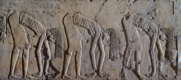 "[EGYPT 29400] 'Dancers in Kheruef's tomb at Luxor.'  	This relief detail in the tomb of Kheruef shows female dancers who perform on the occasion of the First Jubilee (heb sed) festival of Amenhotep III (in year 30 of his reign). Kheruef was steward of Queen Tiy, the wife of Amenhotep III, and played an important role during festivals. His (unfinished) tomb (TT 192) can be found in the Asasif Necropolis on the Westbank at Luxor. It is one of the socalled ""Tombs of the Nobles"". Photo Mick Palarczyk and Paul Smit."