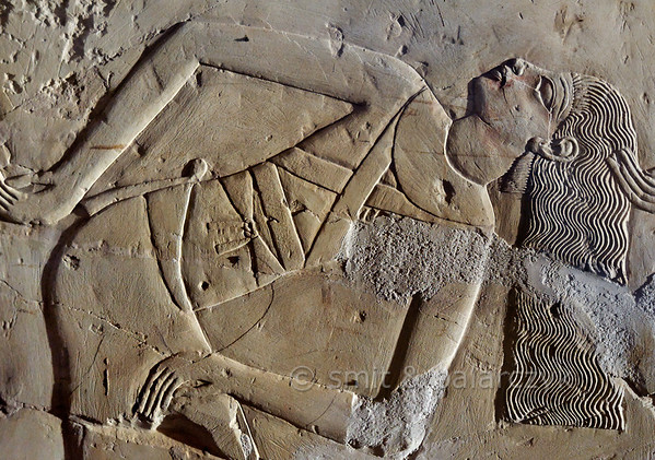 "[EGYPT 29399] 'Dancer in Kheruef's tomb at Luxor.'  	This relief detail in the tomb of Kheruef shows a female dancer who performs on the occasion of the First Jubilee (heb sed) festival of Amenhotep III (in year 30 of his reign). Kheruef was steward of Queen Tiy, the wife of Amenhotep III, and played an important role during festivals. His (unfinished) tomb (TT 192) can be found in the Asasif Necropolis on the Westbank at Luxor. It is one of the socalled ""Tombs of the Nobles"". Photo Mick Palarczyk and Paul Smit."