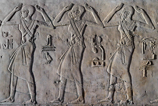 "[EGYPT 29405] 'Dancers in Kheruef's tomb at Luxor.'  	This relief detail in the tomb of Kheruef shows male dancers who perform on the occasion of the Third Jubilee (heb sed) festival of Amenhotep III (in year 37 of his reign). The hieroglyphic text tells us that the dancers originated from the Western Deserts oases. Kheruef was steward of Queen Tiy, the wife of Amenhotep III, and played an important role during festivals. His (unfinished) tomb (TT 192) can be found in the Asasif Necropolis on the Westbank at Luxor. It is one of the socalled ""Tombs of the Nobles"". Photo Mick Palarczyk and Paul Smit."