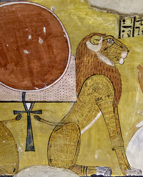 [EGYPT 29419] 'Lion and rising sun in Inherkhau's tomb at Luxor.'