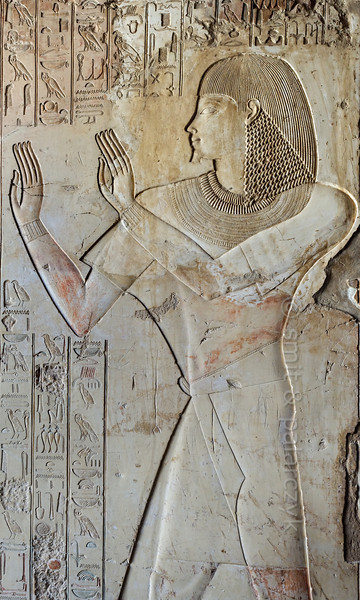 """[EGYPT 29330] 'Relief of Khaemhat in his tomb at Luxor.'  The left wall of the entrance passage way of Khaemhat's tomb shows him worshipping the sun. The text columns record a hymn to Ra. Khaemhat (also known as Mahu) was an 18th dynasty royal scribe and 'Overseer of the Granaries of Upper and Lower Egypt. His tomb (TT 57) is located in the Sheikh Abd el Qurnah Necropolis on the Westbank at Luxor. It is one of the socalled """"Tombs of the Nobles"""" and dates to the reign of Amenhotep III. Photo Mick Palarczyk and Paul Smit."""