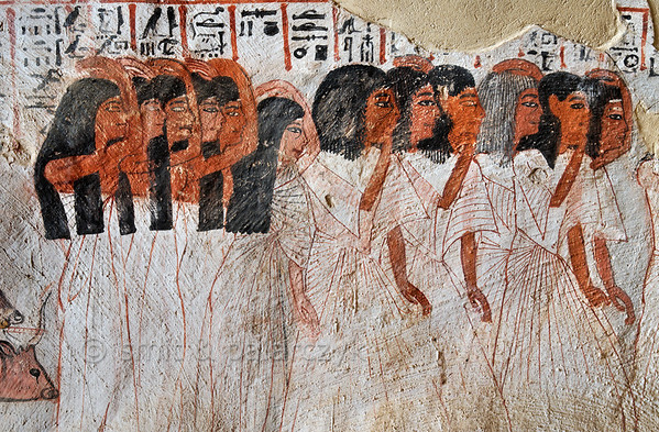 """[EGYPT 29376] 'Mourners in Roy's tomb at Luxor.'  A mural detail in the tomb of Roy shows relatives and friends in his funeral procession making gestures of mourning. One of the mourners, probably an older person, has a grey wig. Roy was an 18th dynasty royal scribe during the reign of Horemheb. His tomb (TT 255) can be found in the Necropolis of Dra Abu el-Naga on the Westbank at Luxor. It is one of the socalled """"Tombs of the Nobles"""". Photo Mick Palarczyk and Paul Smit."""