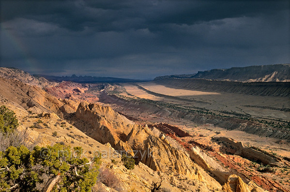 [USA.UTAH 28183] 'Waterpocket Fold seen from Strike Overlook.'  In the Waterpocket Fold, a 65 million year old earthfold at Capitol Reef National Park, different rock-formations surface in straight lines. The geologic  layers, which were originally horizontal, were formed from sediments deposited over hundreds of millions of years in seas, tidal flats and deserts. As wind and water continue slowly to erode the fold, new features are created from the rock. The view is from Strike Overlook, looking north. Photo Mick Palarczyk.