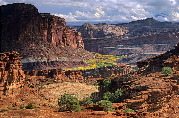 [USA.UTAH 28215] 'Fremont Valley near Fruita.'  View from Panorama Point (Capitol Reef National Park) into the valley of the Fremont River near Fruita. Photo Mick Palarczyk & Paul Smit.