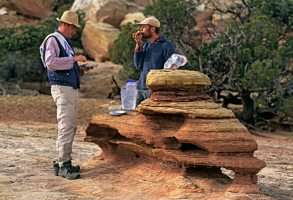 [USA.UTAH 28214] 'Dinner table near Fruita.'  During a walk to Navajo Knobs, along a plateau rim north of Fruita in Capitol Reef National Park, hikers can encounter weird shapes formed by erosion. Photo Paul Smit.