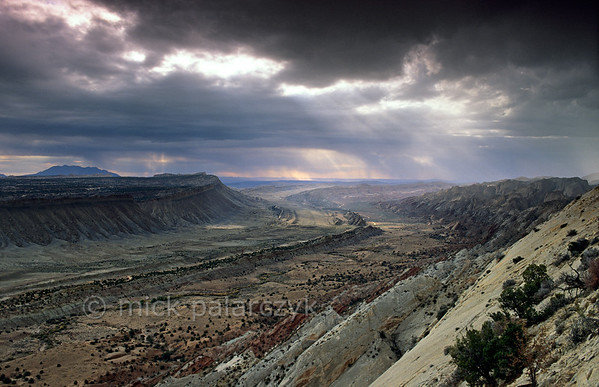 [USA.UTAH 28193] 'Thunderstorm over the Waterpocket Fold.'  In the Waterpocket Fold, a 65 million year old earthfold at Capitol Reef National Park, different rock-formations surface in straight lines. The low ridge of Oyster Shell Reef, which in the distance can be seen to form a S-curve, forms a kind of back bone that divides the expanse of the valley. The view is from Strike Overlook, looking south. Photo Mick Palarczyk.