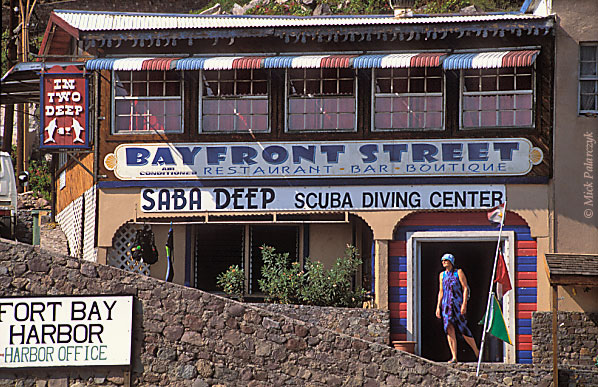 [ANTILLES.SABA 25.515] 'Diving shop'.	 Diving shop at Fort Bay Harbor, the small port at Saba's southwestern tip. Photo Mick Palarczyk.