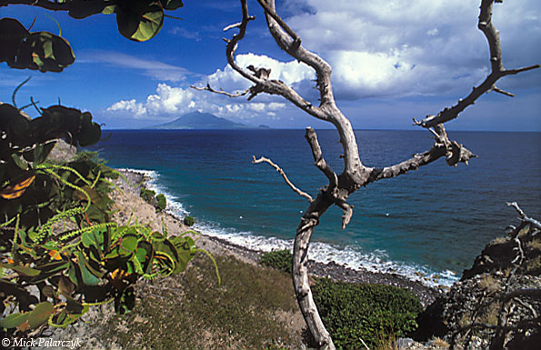 [ANTILLES.stEUSTATIUS 25.595] 'View of St.Kitts.' The southern shore of St.Eustatius with St. Kitts on the horizon. Photo Mick Palarczyk.