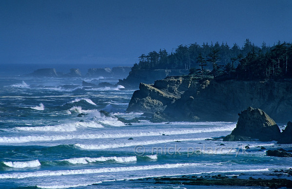[USA.OREGON 28798] 'Coast near Cape Arago.'  The rough Pacific coastline north of Cape Arago (west of Coos Bay). Photo Mick Palarczyk.