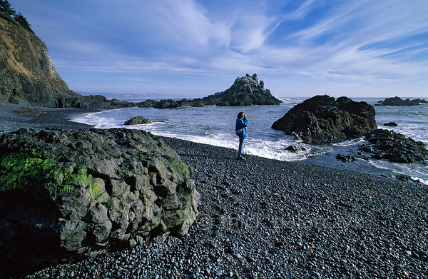 [USA.OREGON 28770] 'Beach at Yaquina Head.'  The beach at Yaquina Head, just north of Newport, is a good stake-out for watching seals. Photo Mick Palarczyk.
