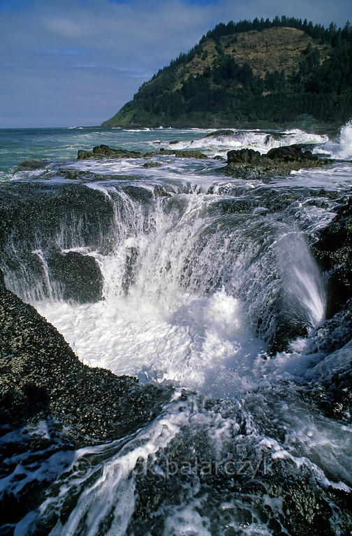 [USA.OREGON 28784] 'Coast near Cape Perpetua.'  	The Pacific seems to be emptying itself into this hole located on the rocky coast near Cape Perpetua, south of Yachats. Photo Mick Palarczyk.