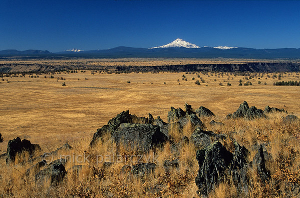 [USA.OREGON 28849] 'Prairie of Schoolie Flat.'  The prairie of Schoolie Flat is located in the center of the Warm Springs Indian Reservation. The yellow expanse of the flatland is bisected by the canyon of the Warm Springs River. On the horizon, snowcapped Mount Jefferson, a volcano in the Cascades Mountain Range, can be seen. Photo Mick Palarczyk.