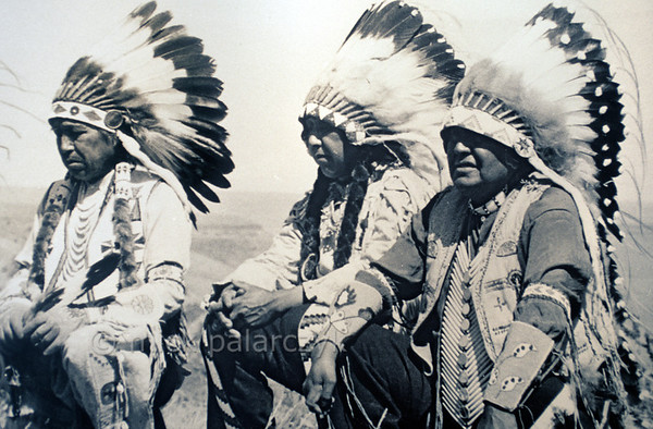[USA.OREGON 28823] 'Warm Springs leaders in 1938.'  The leaders of the Confederated Tribes of Warm Springs during an inspection of their reservation in 1938. The confederation of Wasco, Paiute and Walla Walla tribes was formed in 1937, but the reservation was already established in 1855. The picture is part of the exhibition in the Museum at Warm Springs. Photo Mick Palarczyk.