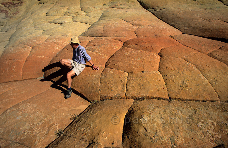 [USA.ARIZONA 28019] 'Pavement of giants.'  Examining the surface of the Brain Rocks, which seems to be paved with enormous pentagonal stones, you feel like an archaeologist studying a long-lost world of giants. The Brain Rocks can be found in Coyote Buttes nature reserve (in the Vermilion Cliffs Wilderness) and are made up by a 200 million years old geological formation called Navajo Sandstone.  The polygonal jointing is the result from expansion and contraction of the rock near its surface where temperature fluctuations are most extreme. Photo Paul Smit