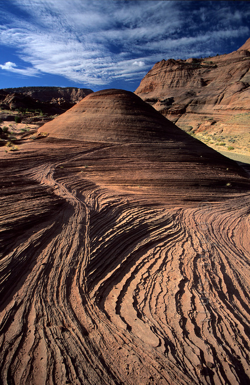 [USA.UTAH 28069] 'Petrified dunes.'  A small plateau above the Paria Canyon shows a finely layered bedrock surface that is composed primarily of wind-blown sand from a vast ancient desert. Later the desert dunes were covered by other materials, they petrified and surfaced again when the Colorado Plateau was uplifted and then eroded. The canyon of the Paria (a tributary of the Colorado) can be found east of Kanab and south of route 89. Photo Paul Smit.