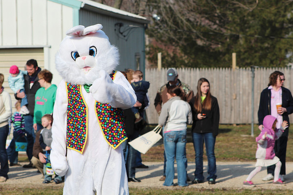 "The Easter Bunny gives a ""thumbs up"" for the Stewardson Lions Club Easter Egg Hunt at the Stewardson Village Park."