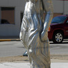 """Age of Aluminum,"" a sculpture by Gary Mitchell of St. Louis, is located at Washington Avenue and Fourth Street."