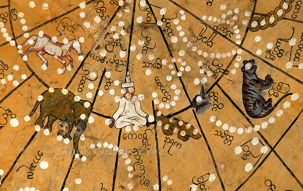 [BURMA 25.059] 'Burmese Zodiac.'  At Amarapura, south of Mandalay, this fresco in the northeastern entrance porch of the Kyauktawgyi Pagoda, dating from 1847, depicts a Burmese astronomical chart with constellations. Photo Mick Palarczyk.