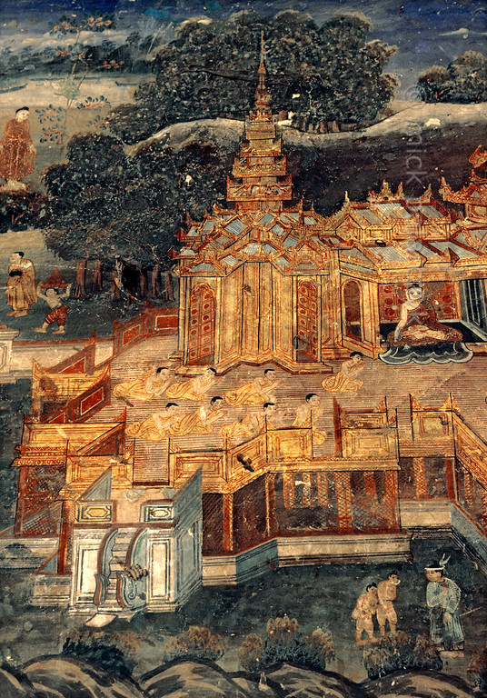 [BURMA 25.095] 'Wooden monastery.'  	A 19th century fresco in the southern entrance porch of the Mahamuni Pagoda at Mandalay depicts a traditional Burmese monastery resting on a cluster of teak poles. Photo Mick Palarczyk.