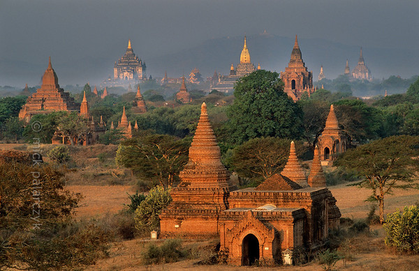 [BURMA 24.884] 'Bagan plain seen from Bulethi Stupa.'  	The Bagan plain houses some two thousand temples and stupas. They are the 11th-13th century remnants of the now vanished royal city of Bagan. Here the plain is seen in the early morning from the Bulethi Stupa, looking west, with on the horizon the Thatbyinnyu Temple (left, with small golden spire) and the Ananda Temple (with big golden spire). Photo Mick Palarczyk.