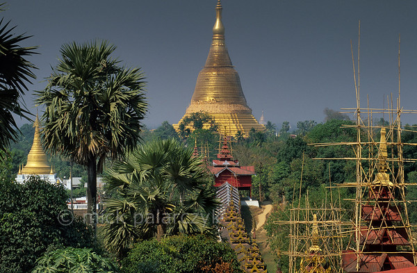 [BURMA 24.716] 'Golden stupa rising above the green.'  	Viewed from the hill of the Hintha Gon Pagoda, the eastern covered stairway of Bago's Shwemawdaw Pagoda can be seen leading up to its central golden stupa. Photo Mick Palarczyk.
