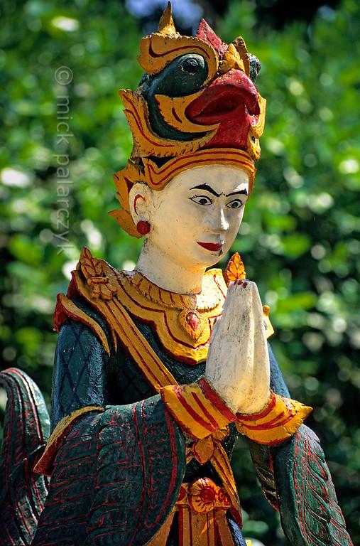 [BURMA 24.706] 'Statue at Kaba Aye Pagoda.'  Statue of a nat (protective spirit) at the Kaba Aye Pagoda in Yangon (Rangoon). Photo Mick Palarczyk.