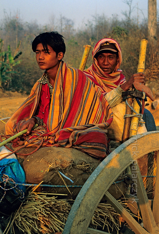 [BURMA 24.770] 'Farmers on ox-cart.'  	In the early morning light farmers are heading for their fields on an ox-cart in the highlands west of Kalaw. Photo Mick Palarczyk.