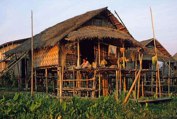 [BURMA 24.828] 'Stilted village.'  Stilted village off the east shore of the Inle Lake, home of the lake-dwelling Intha people. Photo Mick Palarczyk.