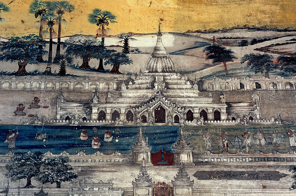 [BURMA 25.058] 'Kyauktawgyi Pagoda at Amarapura.'  	At Amarapura, south of Mandalay, this fresco in the northeastern entrance porch of the Kyauktawgyi Pagoda, dating from 1847, depicts the Kyauktawgyi Pagoda itself. Photo Mick Palarczyk.